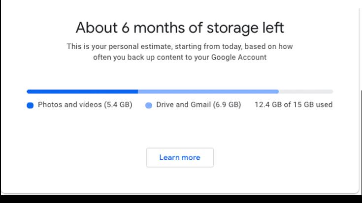 Google Photos storage limit